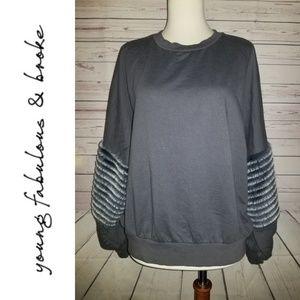 Young Fabulous & Broke Bella Faux Fur Sweatshirt
